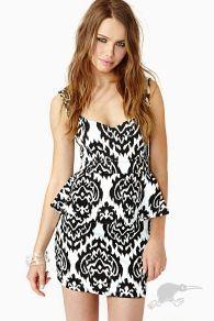 black white monochrome peplum mini dress