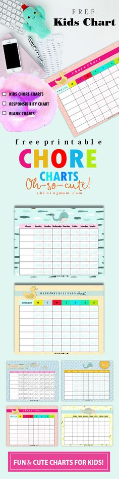 Thse free printable chore charts for kids are probably the cutest charts you'll find on Pineterst. They're easy to use and kids will love them!