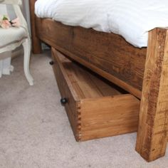 Reclaimed Under The Bed Wooden Bedroom Storage -  Modish Living Reclaimed wood bed