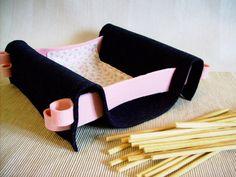Bread basket felt fabric  table decor blue pink handmade by mapano, $25.00