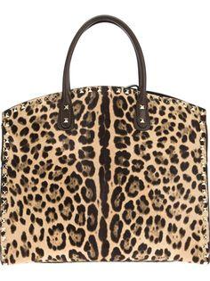 VALENTINO GARAVANI 'Rockstud' leopard print tote