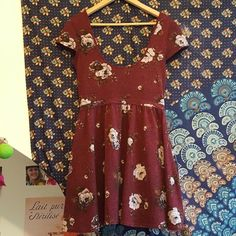 Urban Outfitters casual floral skater dress - Burgandy, low scooped neckline M
