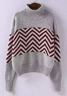 Stylish Stand Collar Long Sleeve Zig Zag Sweater For Women