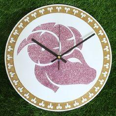 "Zodiac Sign ARIES Wall Clock DIA 12"" Inch Gold Glitter Colour: Black Clock Hands"