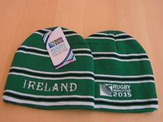 This Ireland Rugby World Cup 2015 beanie hat is part of the official RWC 2015 country team range of Rugby beanies. An acrylic knitted beanie ideal for the Ireland Rugby team supporter. Beanies, Beanie Hats, 2015 Rugby World Cup, Ireland Rugby, Knit Beanie, Cap, Baseball Hat, Knit Hats, Beanie