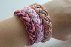 Fun and colorful #DIY Braided T-Shirt Bracelets, perfect for stacking!