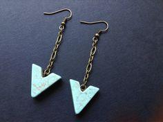 Pale Turquoise Arrow Earrings // Geometric // Jewelry // Brass Earrings // Salty Sparrow Designs on Etsy, $15.00