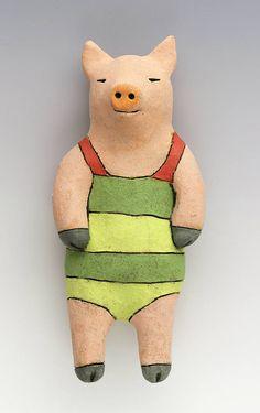 Swimmer Pig Ceramic Wall Art Sculpture