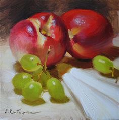 """Nectarines and Grapes"" - Original Fine Art for Sale - © Elena Katsyura"