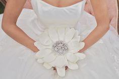 White fabric petal bridal bouquet #Disney #wedding