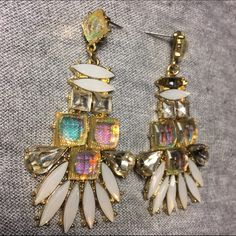 OFFERS WELCOME NWOT Statement Earrings NWOT statement earrings. The stones reflect different colors in different lights. Jewelry Earrings