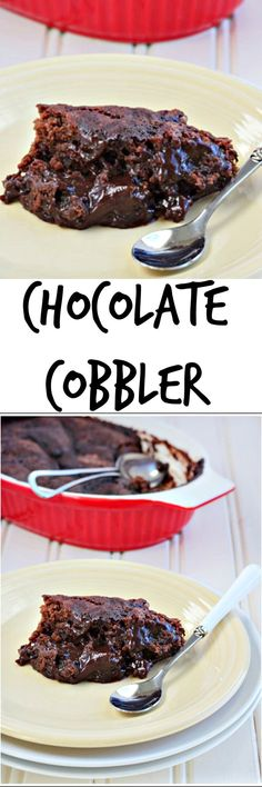 Valentine's Day dessert for two: warm, gooey chocolate cobbler for two! Southern chocolate cobbler is like a self saucing brownie for two. #cobbler #chocolate #southern #southerndesserts #chocolatecobbler #smallbatch #fortwo