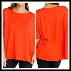 "☀️Brilliant Orange 1/2 Sleeve High/Low Top☀️ ☀️Brilliant Orange 1/2 Sleeve High/Low Top☀️ This top is so pretty and comfy. It has large banded sleeves so you may adjust what length you'd like. Beautiful bouncy & flowing fabric Polyester-95% Spandex-5% Bust-FREE up to 64"" Front Length-27"" Back Length-32"" Tops"