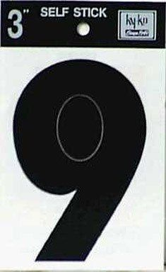 "Self Stick Number [Set of 10] Number: 9 by Hy-Ko. $3.62. Black. Adhesive Vinyl Die Cut Number 9.. 3"". ""HY-KO"" ADHESIVE VINYL NUMBER. 30409 Number: 9 Features: -Number. -Black color. -Vinyl construction. -Ideal for marking boats, trucks and recreational vehicles. -Peel off and press to any clean surface. -Weather resistant. -Carded. -Overall dimensions: 0.09"" H x 4"" W x 11"" D."