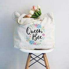 Tote bag Queen bee floral tote canvas tote bag by MiniMoiPrints