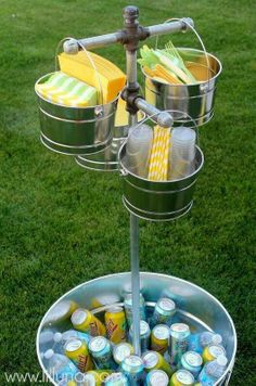 I love this for a party. Maybe not the stand, but the buckets for napkins and utensils is cute!