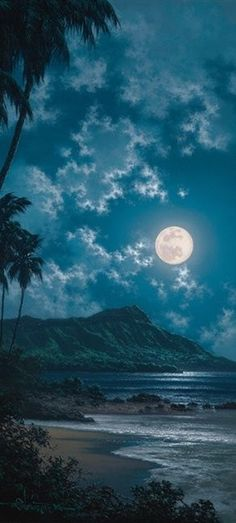 moon over the mountain night sky photo in blue