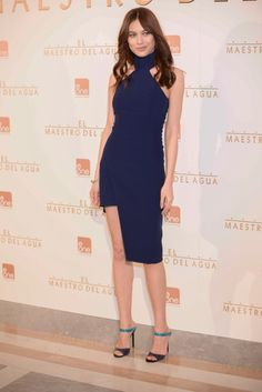 Olga Kurylenko wears a blue Mugler body-con dress at 'The Water Diviner' Madrid Photocall.