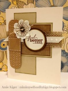 by Amie Kiger... get well card in neutrals... <3 the burlap!