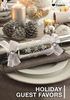 You've taken the time to craft a delicious menu and set up the festive decorations for your family Christmas dinner, now all that's left is to complete your table with fun holiday guest favors. These silver crackers from Costco are so festive—you'll want to make them a tradition every year!
