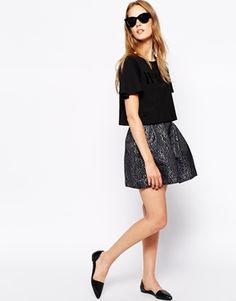 French Connection Sparkle Ray Skirt in Jacquard
