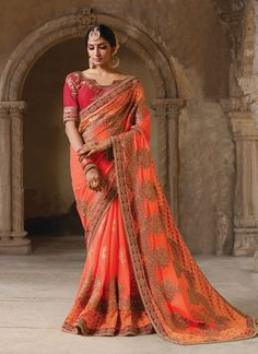a59c80e31a Look Traditional With Designer Orange Colored Saree Party Wear Sarees Online,  Party Sarees, Buy