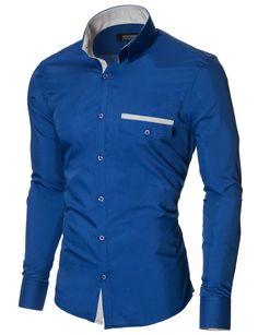 MODERNO Slim Fit Freizeit Herrenhemd (MOD1413LS) Blau