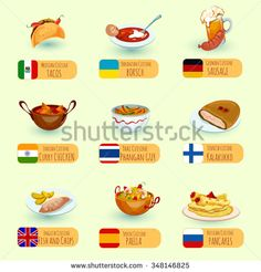 World food international cuisine dishes decorative icons set with sausage fish…