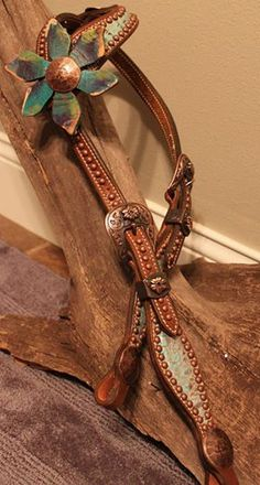 Single Ear Headstall with Leather Flower! South Grove Tack