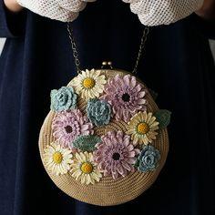編み物レシピ(編み図) | ハンドバッグ | フラワーモチーフのバッグ | 松本かおる | ステッチステッチ | 手芸の作り方、編み方、縫い方、レシピのポータルサイト