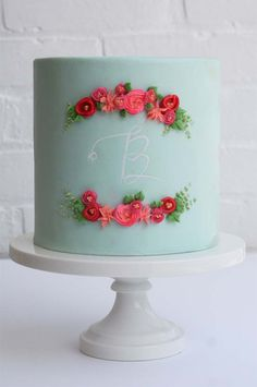 Beautiful Cake Pictures: Single Tiered Blue Cake with Red Flowers - Birthday Cake, Colorful Cakes, Flower Cake, Wedding Cakes -