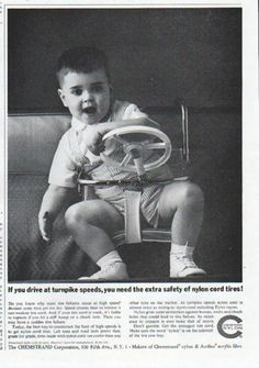 """Description: 1961 CHEMSTRAND vintage magazine advertisement """"turnpike speeds"""" -- If you drive at turnpike speeds, you need the extra safety of nylon cord tires! ... Don't gamble. Get the strongest tire cord. -- Size: The dimensions of the half-page advertisement are approximately 7.75 inches x 11 inches (19.75 cm x 28 cm). Condition: This original vintage half-page advertisement is in Excellent Condition unless otherwise noted."""