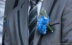 Blue hydrangea buttonhole with lavender