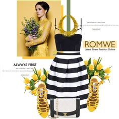 Striped Knee Skirt with ROMWE by antemore-765 on Polyvore featuring polyvore, fashion, style, Gianvito Rossi, Honour, Steve Madden and Janna Conner Designs