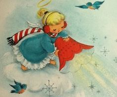 Vintage Christmas Card Angel
