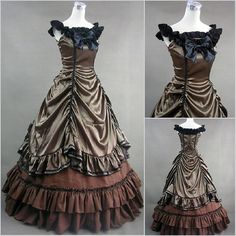Bronze Sleeveless Wild Wild Old West Pioneer Ball Gowns Lolita Dresses Clothing Costumes for Women