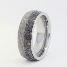 Tungsten+Ring+with+a+Dinosaur+Bone+and+Meteorite+by+jewelrybyjohan,+$1,083.00
