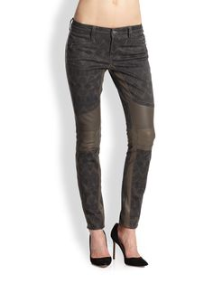 Genetic Denim Sadie Faux Leather Panel Skinny Jeans !