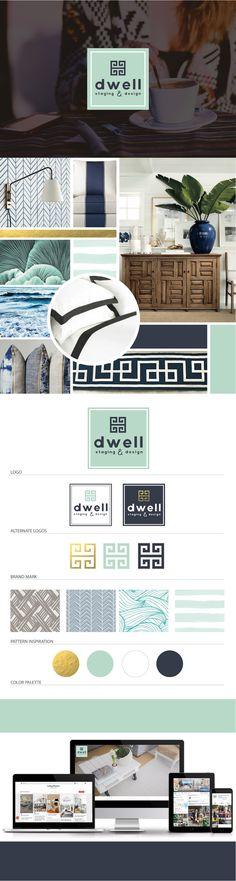 Brand Launch: Dwell Staging & Design - Digital Design Co. | mood board, website design, branding guide, logo design, gold foil, logo variations, interior design branding, seafoam green color palette