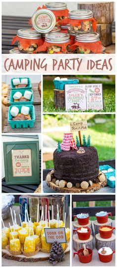 A backyard camping boy birthday party with fun foods, s'mores, mason jars and a drink station!  See more party planning ideas at CatchMyParty.com!