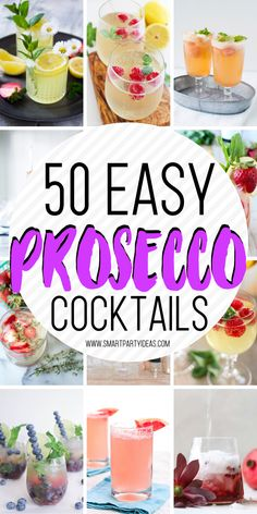 50 delicious and easy Prosecco cocktails that you can make for your next event. Delicious, crisp and refreshing these cocktails are guaranteed to be a hit. drinks 50 Easy Prosecco Cocktails Perfect For Your Next Party Refreshing Cocktails, Easy Cocktails, Cocktail Drinks, Drinks With Prosecco, Simple Cocktail Recipes, Prosecco Punch, Champagne Margaritas, Bonbon, Acapulco