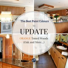 The best paint colours and ideas to update orange toned oak, wood, cabinets, flooring. Kylie M INteriors E-decor and E-design