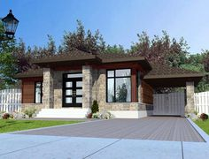 House Plan 50315 Contemporary Plan with 1025 Sq., 3 Bedrooms, 1 Bathrooms, 1 Car Garage at family home plans Contemporary House Plans, Contemporary Style Homes, Contemporary Decor, Family House Plans, Country House Plans, Small House Plans, Bungalow, House Elevation, Front Elevation