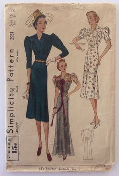 1930s Vintage Sewing Pattern Simplicity 2931 Elegant Evening Gown Day Dress | eBay