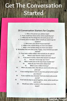 20 Conversation Starters To Reconnect With Your Spouse - Tastefully Frugal Conversation Starter Questions, Conversation Starters For Couples, Conversation Topics, Relationship Questions, Relationship Advice, Relationship Building, Relationship Repair, Relationship Therapy, Happy Marriage