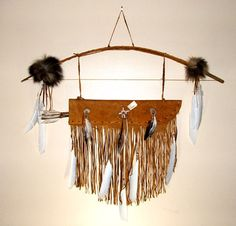 Native American Wall Hangings leather quiver & 2 stone tipped arrows native american wall