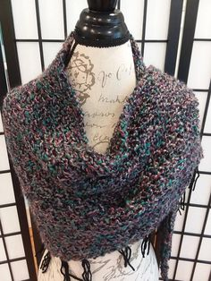 Check out this item in my Etsy shop https://www.etsy.com/listing/568576819/knitted-triangle-shawl-scarf-with-fringe