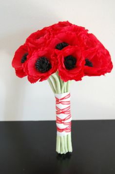red poppy flower bridesmaids bouquets   red poppies wedding bouquet by stjudescreations on Etsy