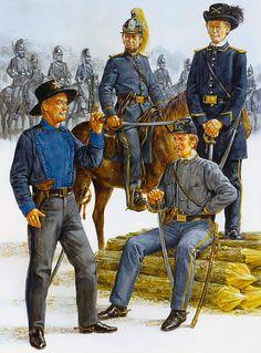 """Virginia voluntario de la caballería, 1861-1862 """"    • Appomattox guardabosques - Co H, segundo Cav VA  • Loudon caballería - Co K, 6 de Cav VA (gala)  • Loudon caballería (vestido de servicio) • Valley Rangers - Co E, 1r Cav VA"""