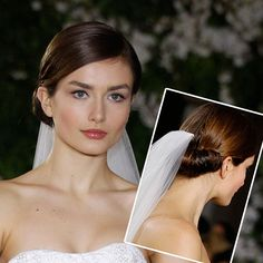 "Brides: Formal Chignon Wedding Hairstyle. Carolina HerreraThe demure hair and makeup at Carolina Herrera nailed the ""classic bride"" look. Hair was smoothed back into polished chignons, and the makeup was natural and pretty—but still bold enough to pop in photos.See the Spring 2012 Carolina Herrera collection.Featured In: Formal Chignon Wedding HairstylePhoto:  Thomas Iannaccone"